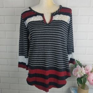 We the free by free people striped crochet top M